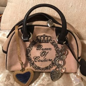 Juicy Couture Purse pink velour, brn. Leather.